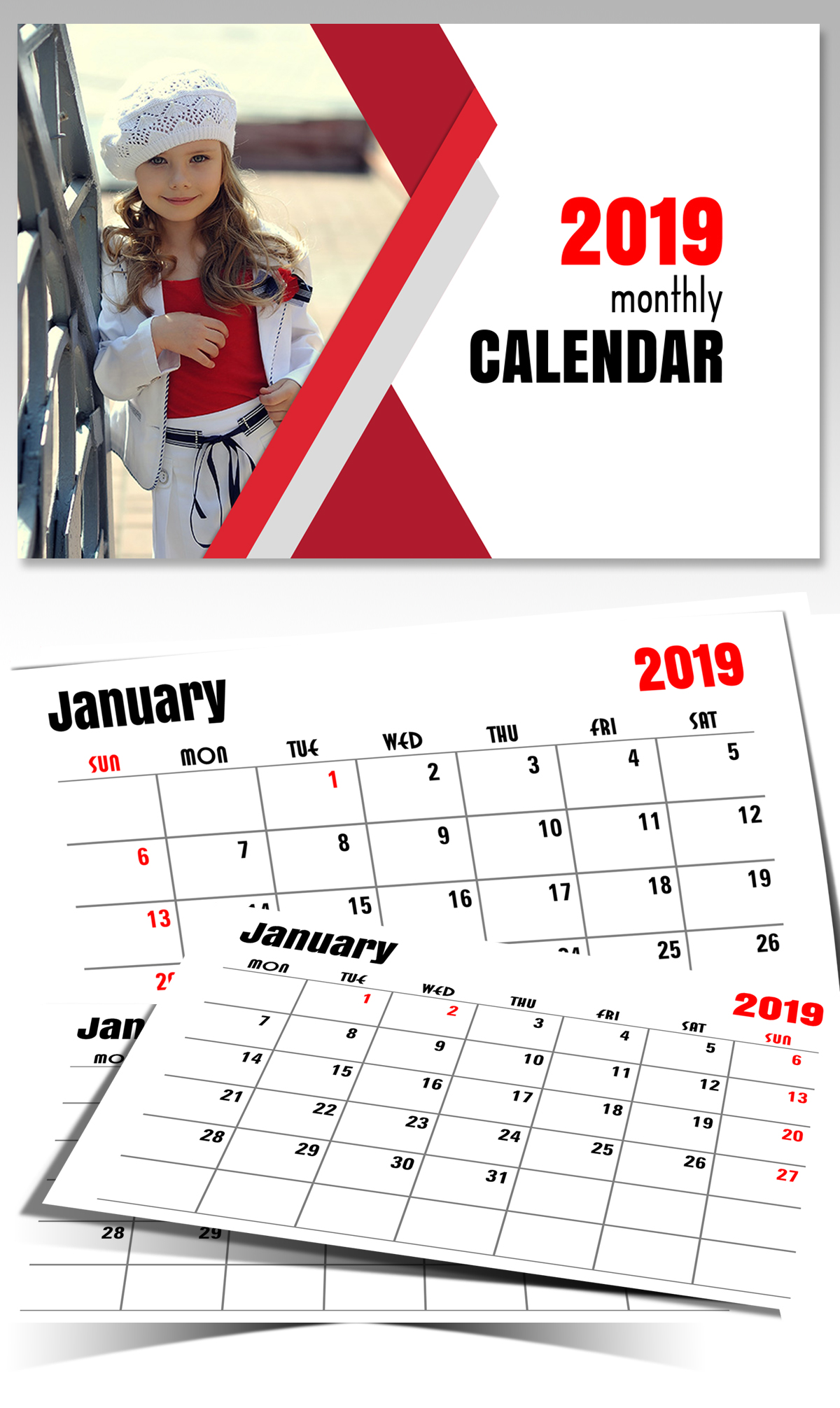 Monthly Horizontal Calendar 2019