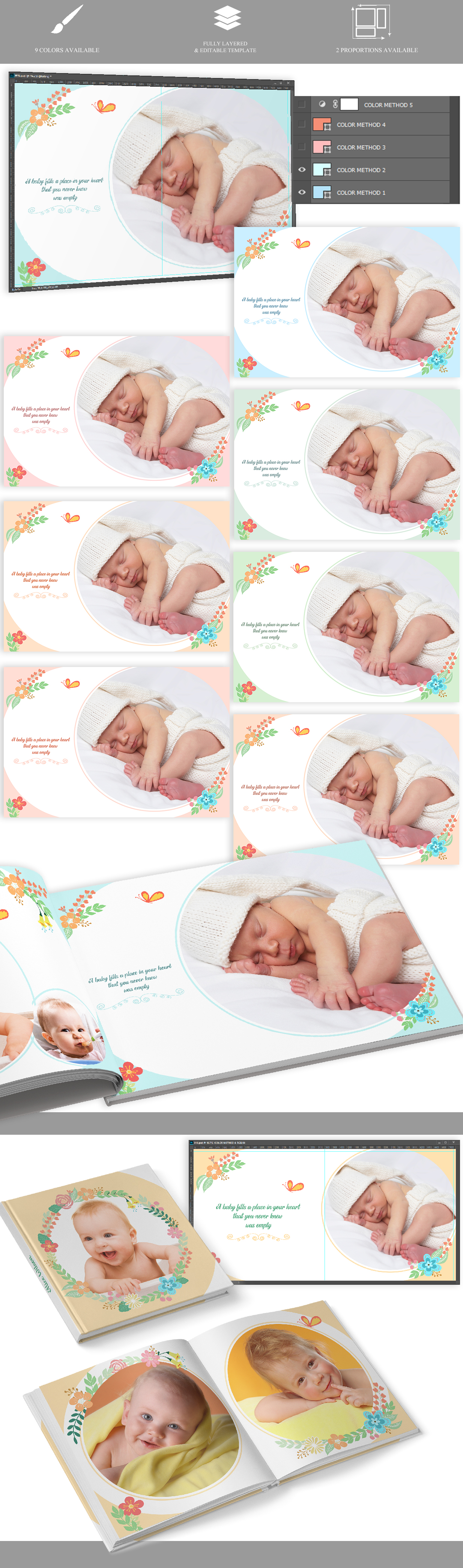 Baby Photo album v.18 psd Photoshop